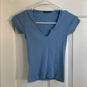 Women's blue ribbed Brandy Melville top